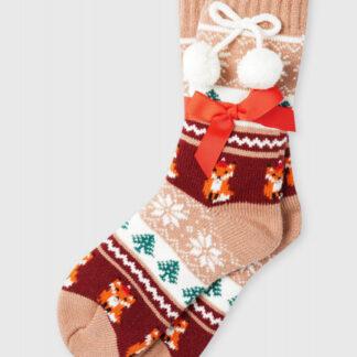 Акриловые носки с жаккардом «лисы» O`Stin