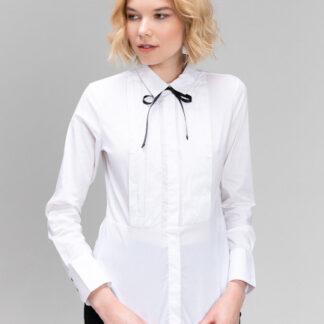 Белая рубашка с контрастным бантом O`Stin