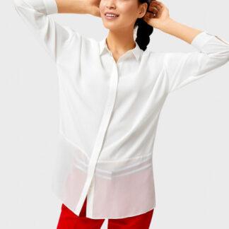 Белая рубашка с шифоновой вставкой O`Stin