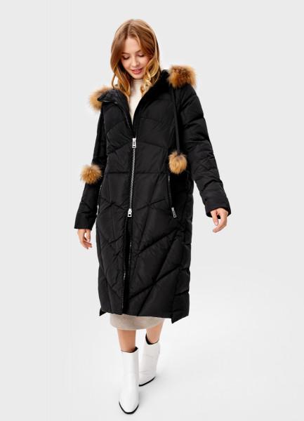 Длинное прямое пальто с мехом O`Stin
