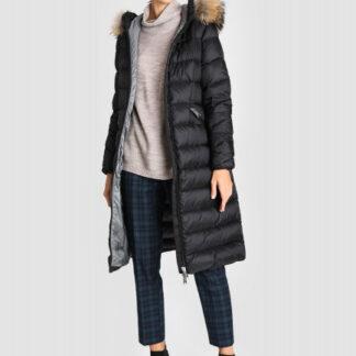 Длинное пуховое пальто с натуральным мехом енота O`Stin