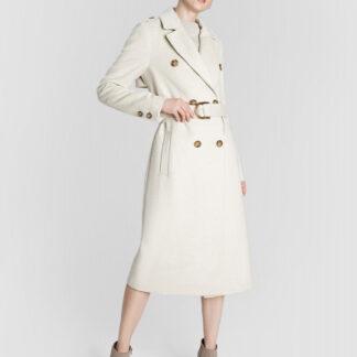 Длинное шерстяное пальто с поясом O`Stin