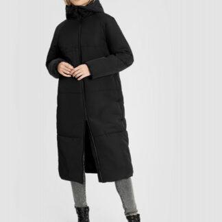 Длинное утепленное пальто с