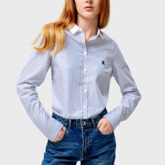 Хлопковая рубашка с контрастным воротником O`Stin