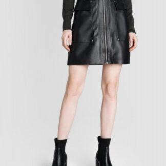 Кожаная юбка с накладными карманами O`Stin