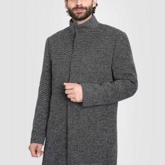 Пальто с воротником-стойкой из