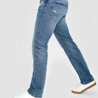 Прямые джинсы с интенсивными потёртостями O`Stin