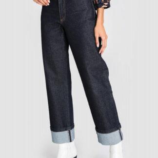Прямые широкие джинсы с подворотами O`Stin