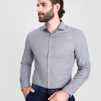 Рубашка из меланжевого хлопка с