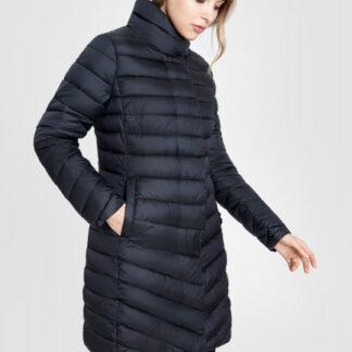 Удлиненная ультралегкая куртка с воротником-стойкой и горизонтальной стежкой O`Stin